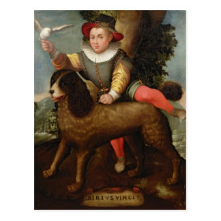 Boy and Dog, `Bibius Vincit' Postcard