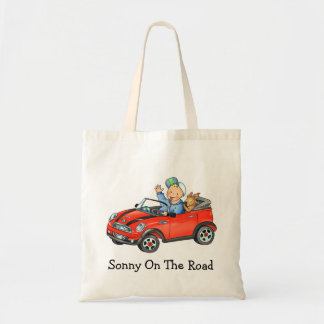 Boy and Dog in Red Toy Car  Bag