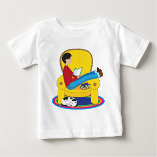 Boy and Dog Reading Baby T-Shirt
