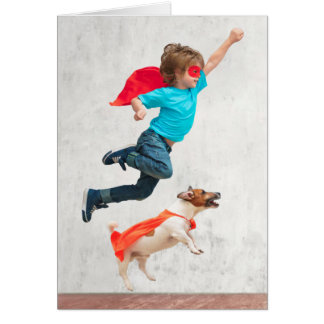 Boy and Dog Superheroes Card