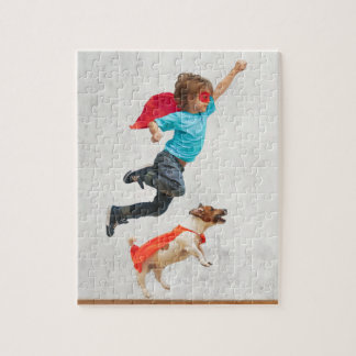 Boy and Dog Superheroes Jigsaw Puzzle