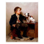 Boy and Dog Vintage Art Poster