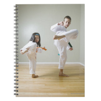 Boy and girl (4-9) practising Taekwondo kicks Notebook