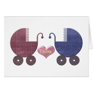 Boy and Girl Baby Twins, Pram Art Design Greeting Card