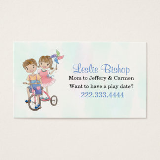 Boy and Girl on Tricycle Mommy Play Date Card