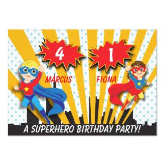"Boy and Girl Superhero Birthday 5"" X 7"" Invitation Card"