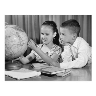 Boy and Girl Viewing Globe Postcard