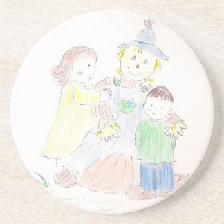 Boy and Girl with Scarecrow Drink Coaster
