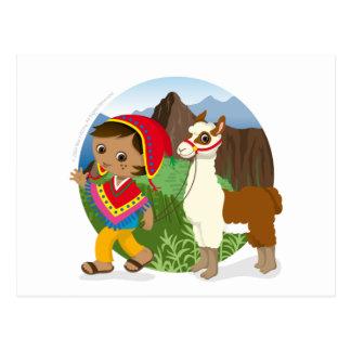 Boy and his llama postcard