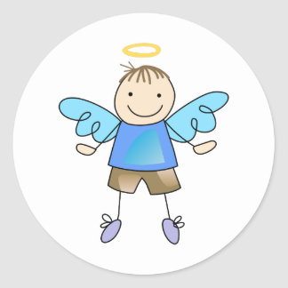 BOY ANGEL CLASSIC ROUND STICKER