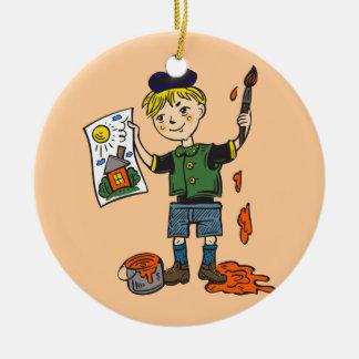 Boy Artist and Artwork 2 Round Ceramic Ornament