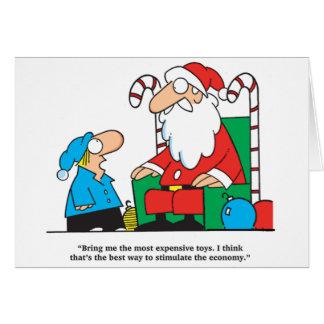 Boy asking Santa Stimulate Economy Greeting Card