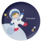 Boy Astronaut Kid's Personalized Plate
