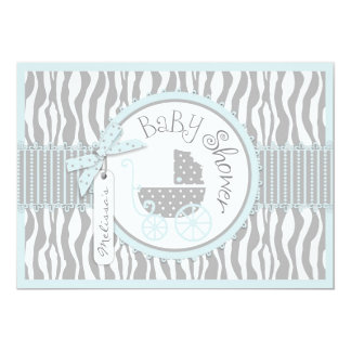 "BOY Baby Carriage, Zebra Print & Blue Baby Shower 5"" X 7"" Invitation Card"