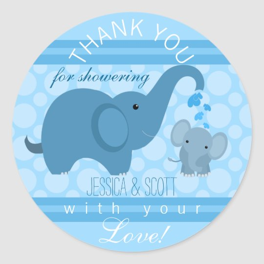 Boy Baby Elephant Baby Shower Sticker Zazzle Ca