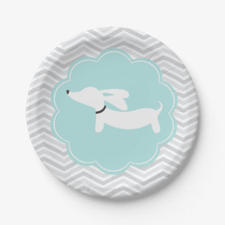 Boy Baby Shower Blue Doxie Dachshund Party Plates 7 Inch Paper Plate