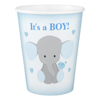 Boy Baby Shower Blue Gray Elephant Sprinkle Party Paper Cup