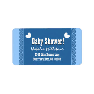 Boy Baby Shower Blue Lace and Hearts V3