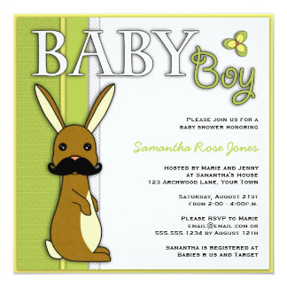 Boy Baby Shower Cute Bunny with Mustache - Green Card