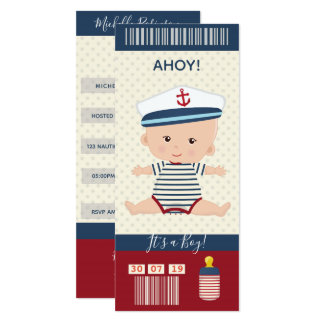 Boy Baby Shower Nautical Boarding Pass Ticket Card