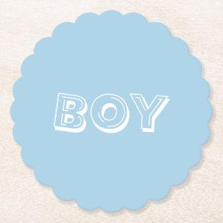 Boy Baby Shower Powder Blue Paper Coaster