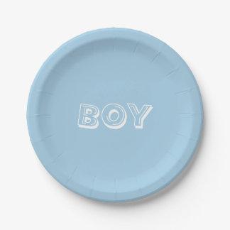 Boy Baby Shower Powder Blue Paper Plate