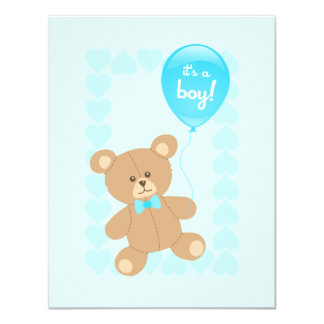 Boy Baby Shower Teddy with Balloon invitation