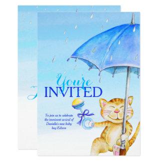 Boy baby shower umbrella whimsical cat invitations