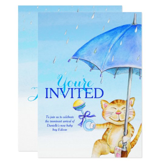 Boy baby shower umbrella whimsical cat invitations