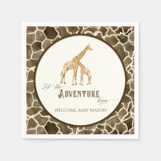 Boy Baby Shower Watercolor Giraffe Mama and Baby Disposable Napkin