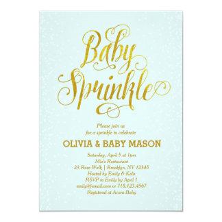 Boy Baby Sprinkle Invitation Blue Gold