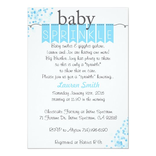 Boy Baby Sprinkle Invitations - Blue Baby Sprinkle