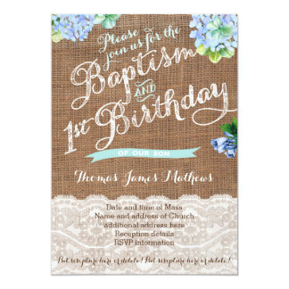 boy baptism and 1st birthday, blue floral invites