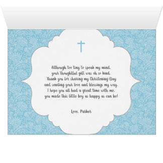 Boy Baptism poem thank you note with photo Card