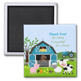 Boy Barnyard Farm Animals Thank You Magnet Magnets