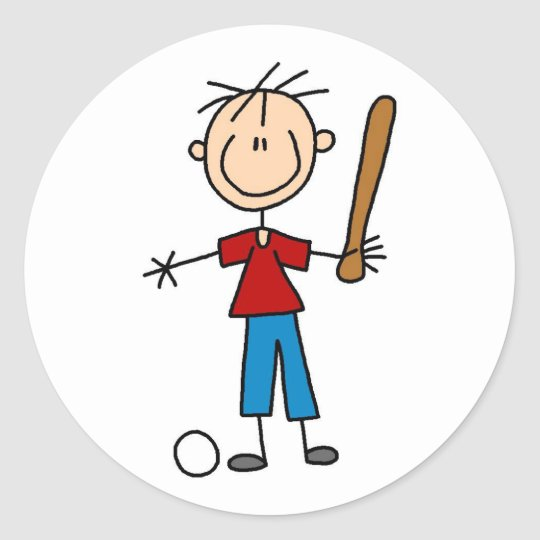 Boy Baseball Player Sticker