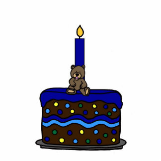 Boy bear on birthday cake photo cut outs