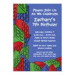 Boy Birthday Party - Building Blocks Custom Announcement