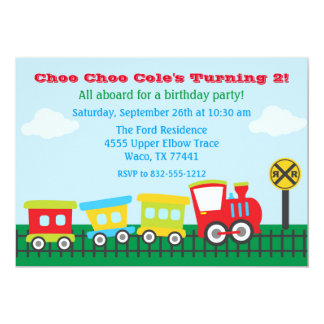 Boy Birthday Party Invitation - Choo Choo Train