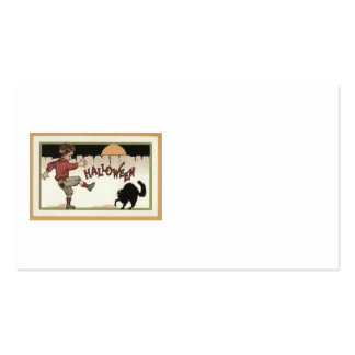 Boy Black Cat Full Moon Fence Business Cards