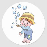 Boy Blowing Bubbles Round Sticker