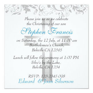 Boy Blue and White Christening Baptism Card