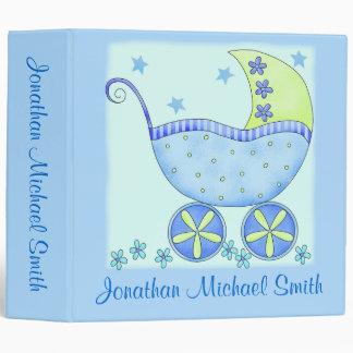 Boy Blue Baby Buggy Photo Custom Baby Book Album 3 Ring Binders