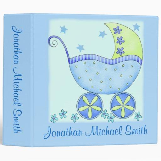 Boy Blue Baby Buggy Photo Custom Baby Book Album Vinyl Binders