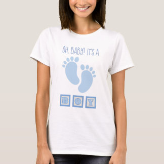 Boy Blue Baby Feet Blocks Gender Reveal T-Shirt