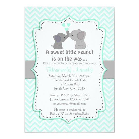 Boy Blue Elephant Baby Shower Invitations Chev 330 Zazzle Ca