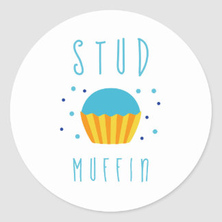 Boy Blue  Studmuffin Gender Reveal Classic Round Sticker