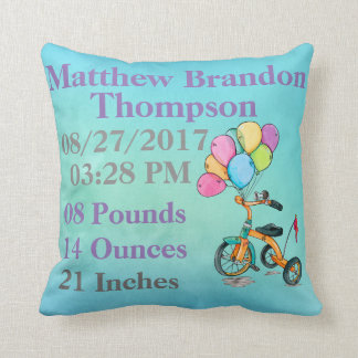 Boy Blue Watercolor Tricycle Trike Balloon Birth Throw Pillow