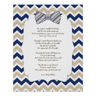 BOY Bow Tie Baby Shower Thank you decor Poster