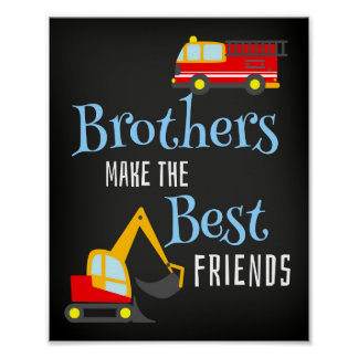 Boy Brothers Nursery Baby Room Poster Art Print